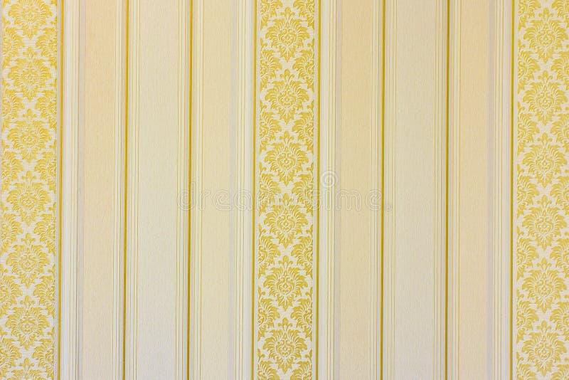 Gouden gestreept behang royalty-vrije stock afbeelding