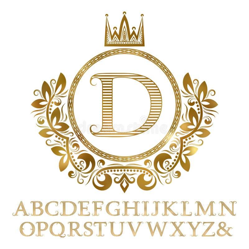 Gouden gestreepte brieven met aanvankelijk monogram in wapenschildvorm Glanzende doopvont en elementenuitrusting voor embleemontw royalty-vrije illustratie