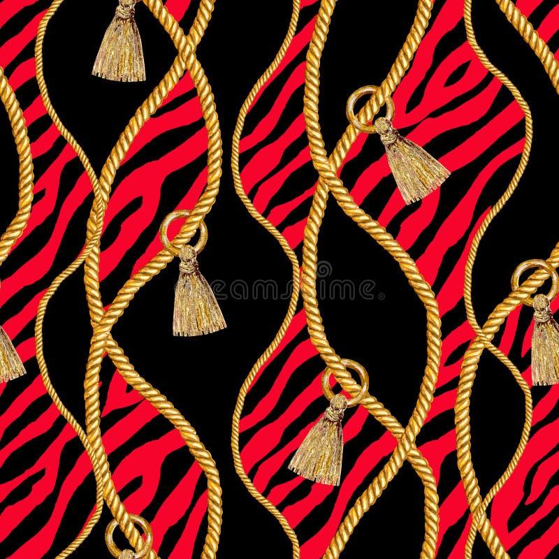 Gouden gestreepte naadloze het patroonillustratie van de kettingsglamour Waterverftextuur met gouden kettingen stock foto