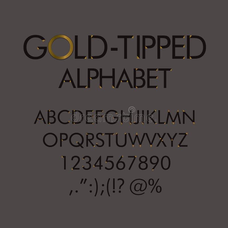 Gouden-getipt alfabet met aantallen en leestekens royalty-vrije illustratie