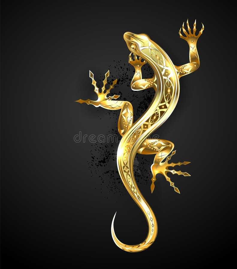 Gouden gevormde hagedis op zwarte achtergrond royalty-vrije illustratie