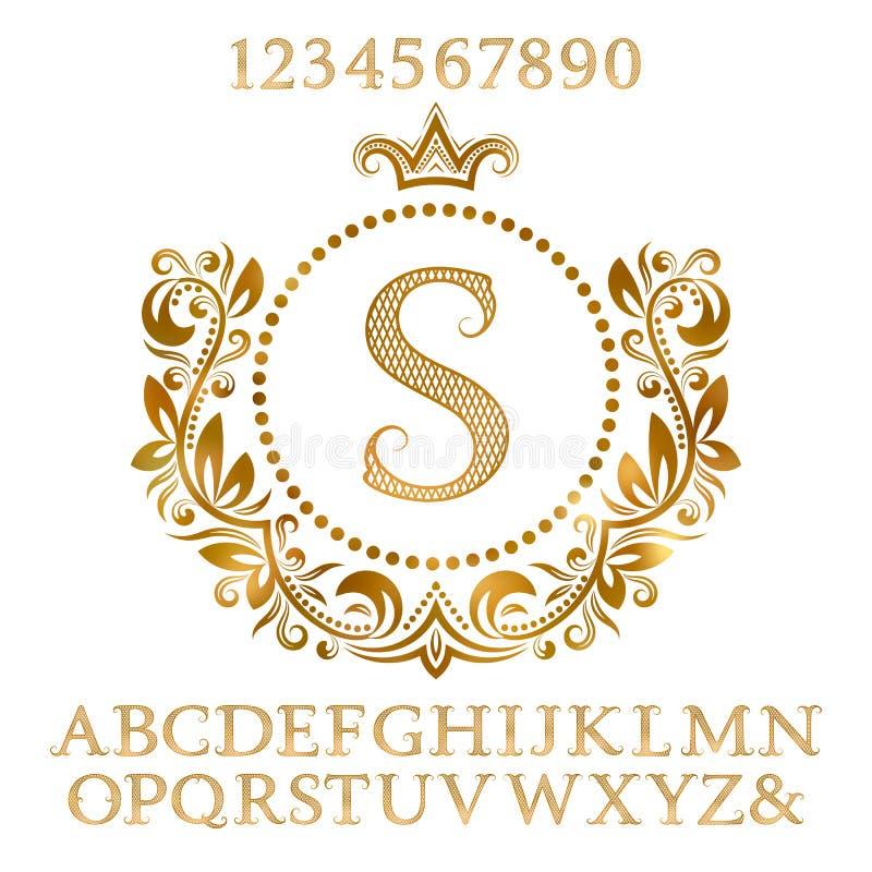 Gouden gevormde letters en getallen met aanvankelijk monogram in wapenschildvorm Glanzende doopvont en elementenuitrusting voor e vector illustratie