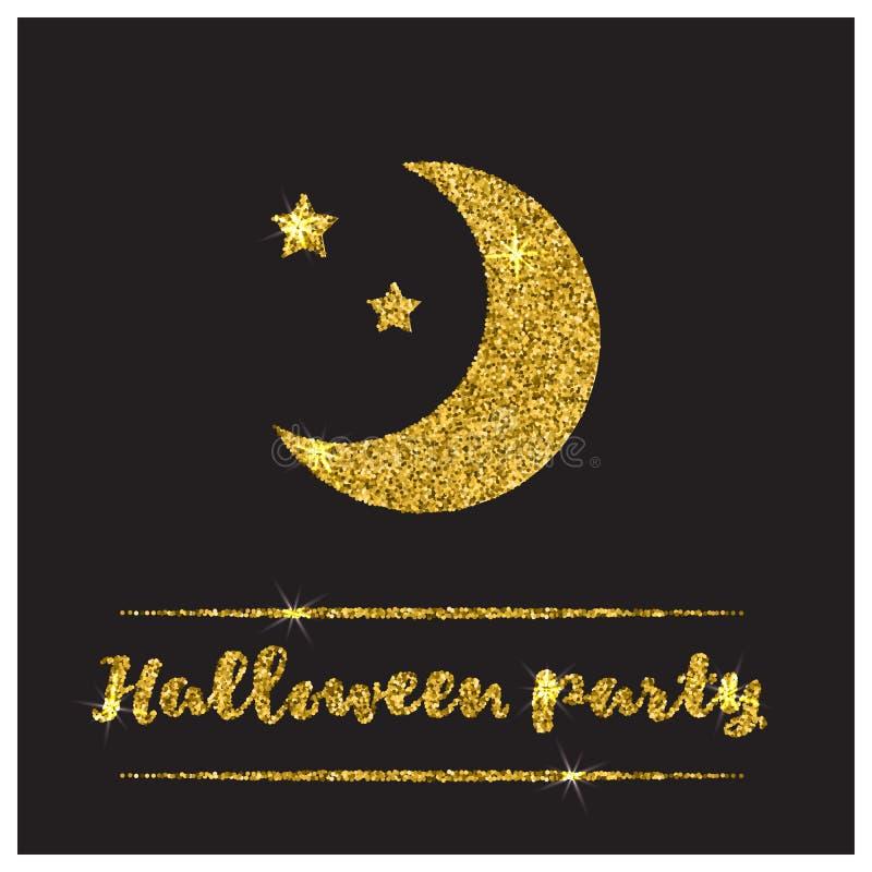 Gouden geweven de maanpictogram van Halloween vector illustratie