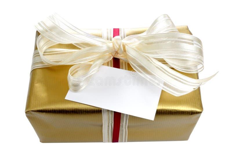 Download Gouden gift met kaart stock foto. Afbeelding bestaande uit viering - 10776936