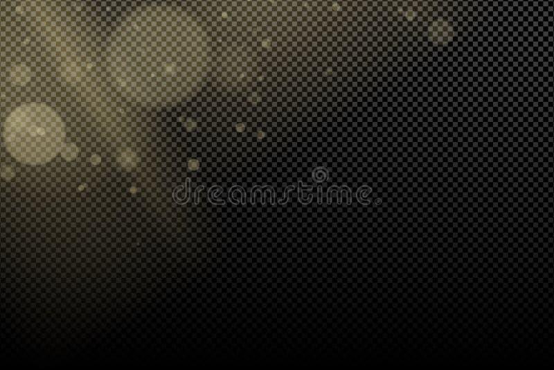 Gouden glans bokeh op een transparante achtergrond Stralen lichte kant Lichteffect voor uw ontwerp Gele vlek Het vliegen lichten  vector illustratie