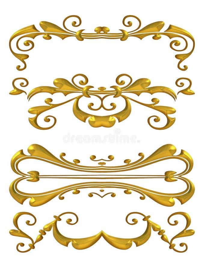 Gouden Glanzend bloeit Ontwerpen royalty-vrije illustratie