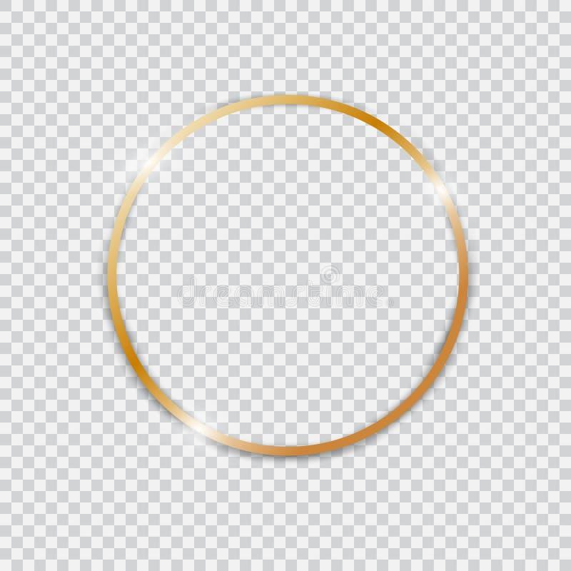 Gouden glanzend gloeiend uitstekend rond kader stock illustratie