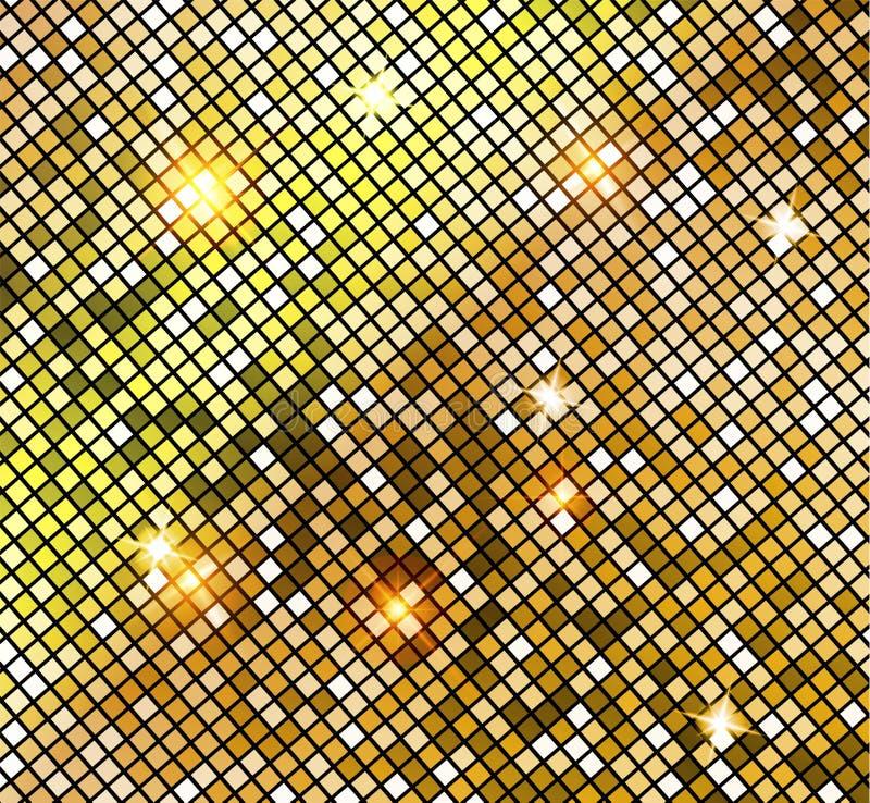 Gouden glanzend mozaïek in de stijl van de discobal De vector Gouden Disco steekt achtergrond aan abstracte achtergrond stock illustratie