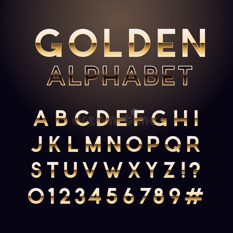 Gouden glanzende doopvont Engels alfabet en aantallenteken royalty-vrije illustratie