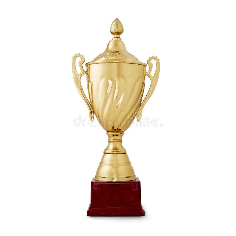 Gouden glanzende kop, beloning voor de winnaar, op wit royalty-vrije stock foto's