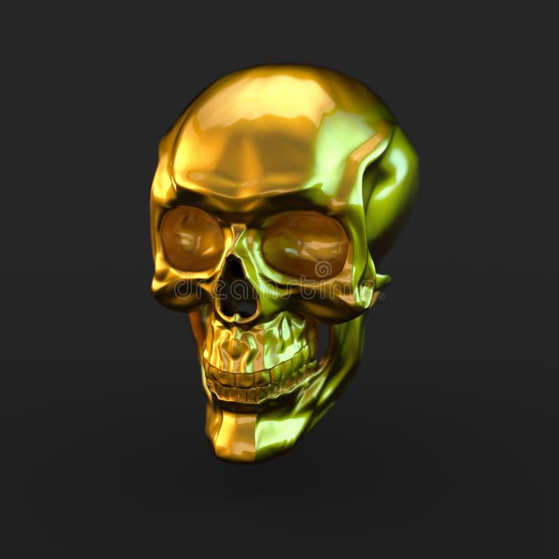 Gouden glanzende schedel met lichte die bezinningen op zwarte achtergrond worden geïsoleerd vector illustratie