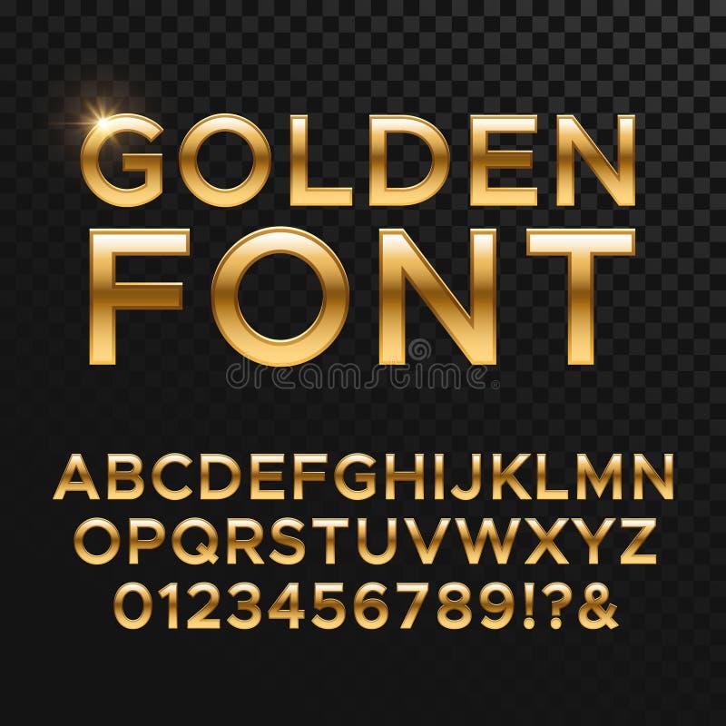 Gouden glanzende vectordoopvont of gouden alfabet Gele metaallettersoort stock illustratie