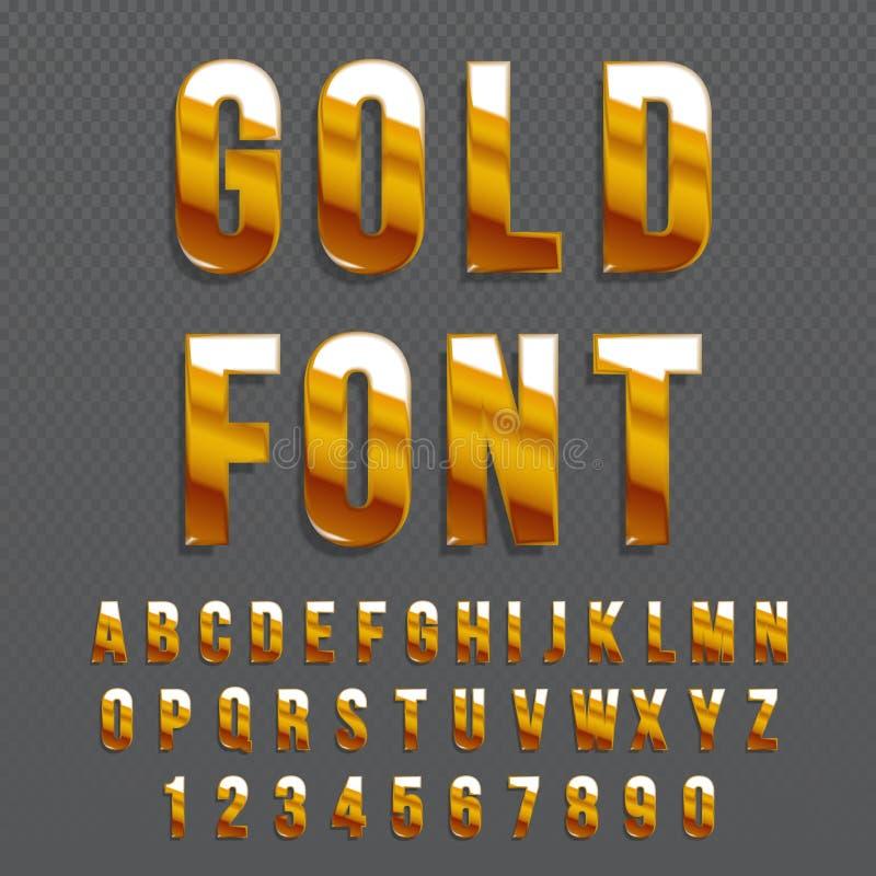 Gouden glanzende vectordoopvont of gouden alfabet Gouden lettersoort Metaalalfabet typografische illustratie vector illustratie
