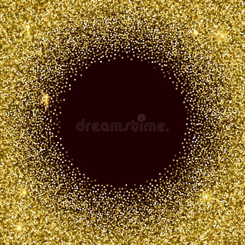 Gouden glitterytextuur Fonkelings gouden vectorachtergrond royalty-vrije illustratie