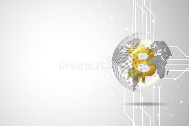 Gouden globale bitcoin digitale munt en wereld en technologie stock illustratie