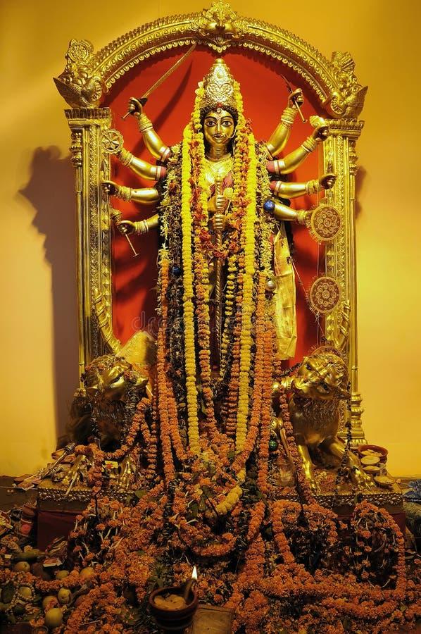 Gouden godin Durga stock afbeeldingen