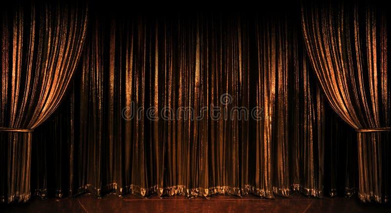 Gouden Gordijnen stock afbeelding