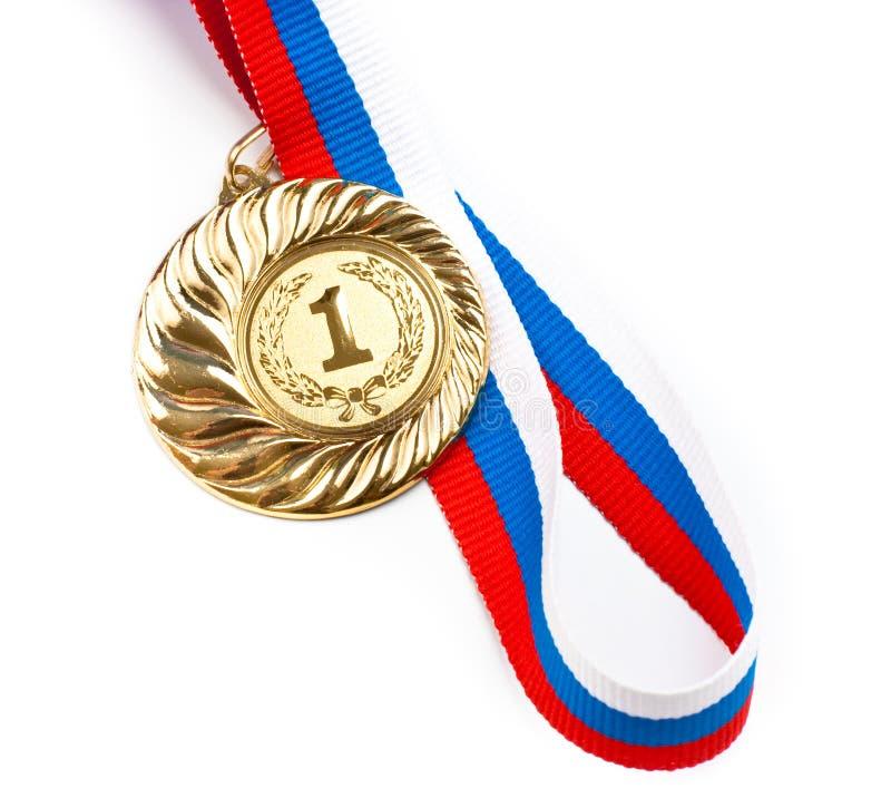 Gouden of gouden medaille geïsoleerde= close-up stock foto's