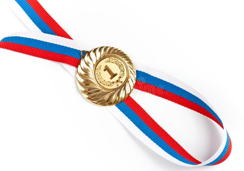 Gouden of gouden medaille geïsoleerde close-up royalty-vrije stock foto's