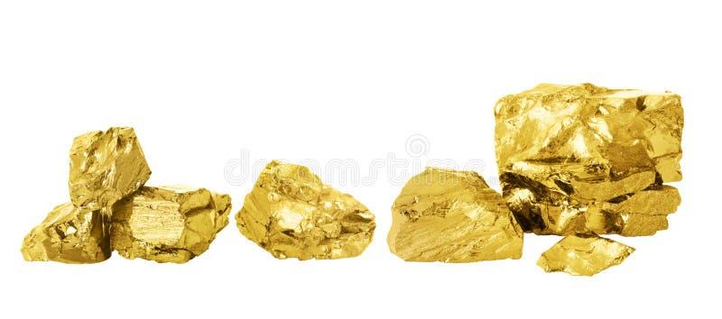 Gouden goudklompjereeks stock afbeeldingen