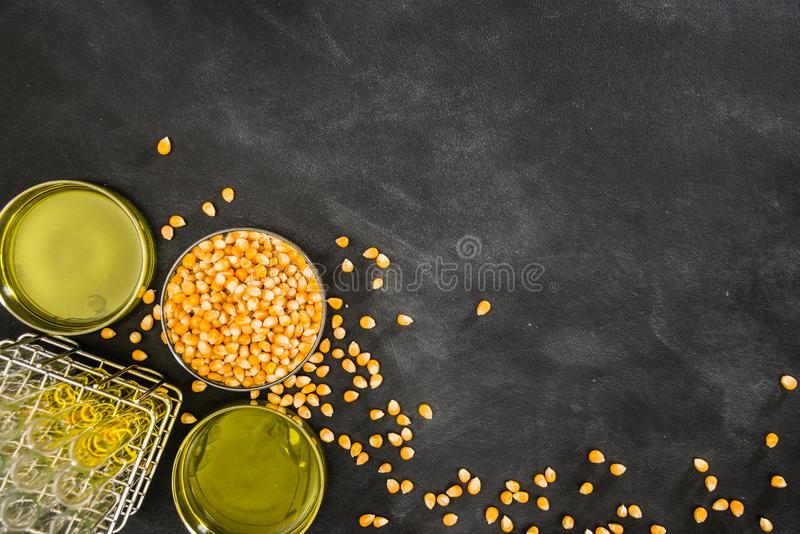 Gouden graankorrels die groenten en fruitolie maken stock fotografie
