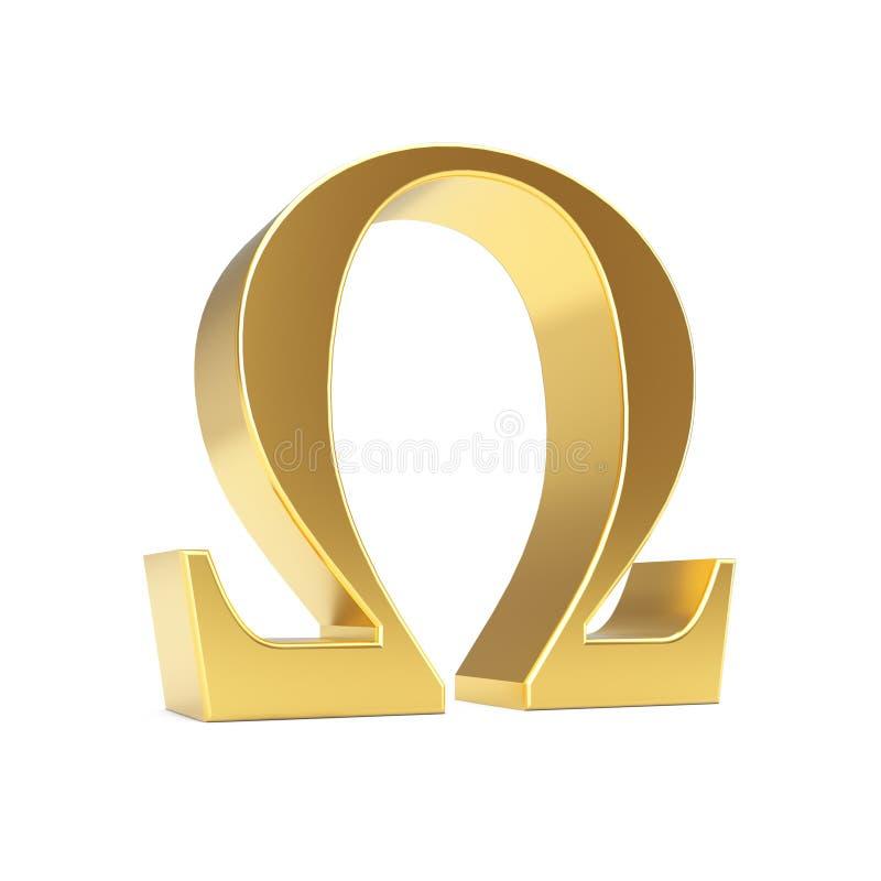 Gouden Grieks Omega Brievensymbool het 3d teruggeven royalty-vrije illustratie