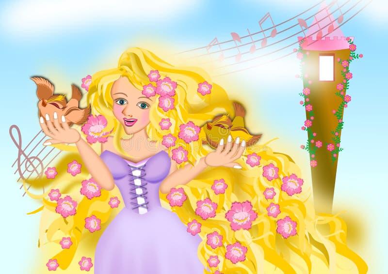Gouden haarprinses Rapunzel in zachte kleurenscène stock illustratie