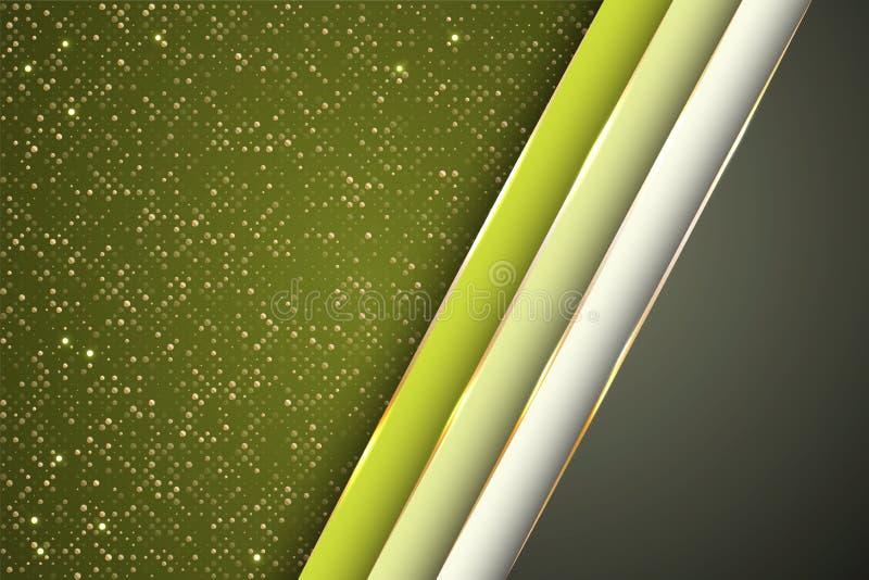 Gouden halftone punten en geneigd de banner vectorontwerp van lintstrepen Glamour bedrijfs achtergrondmalplaatje vector illustratie