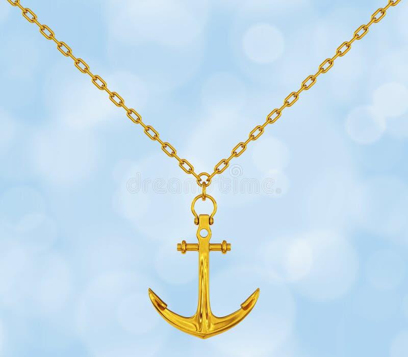 Gouden Halsband met Anker het 3d teruggeven stock illustratie