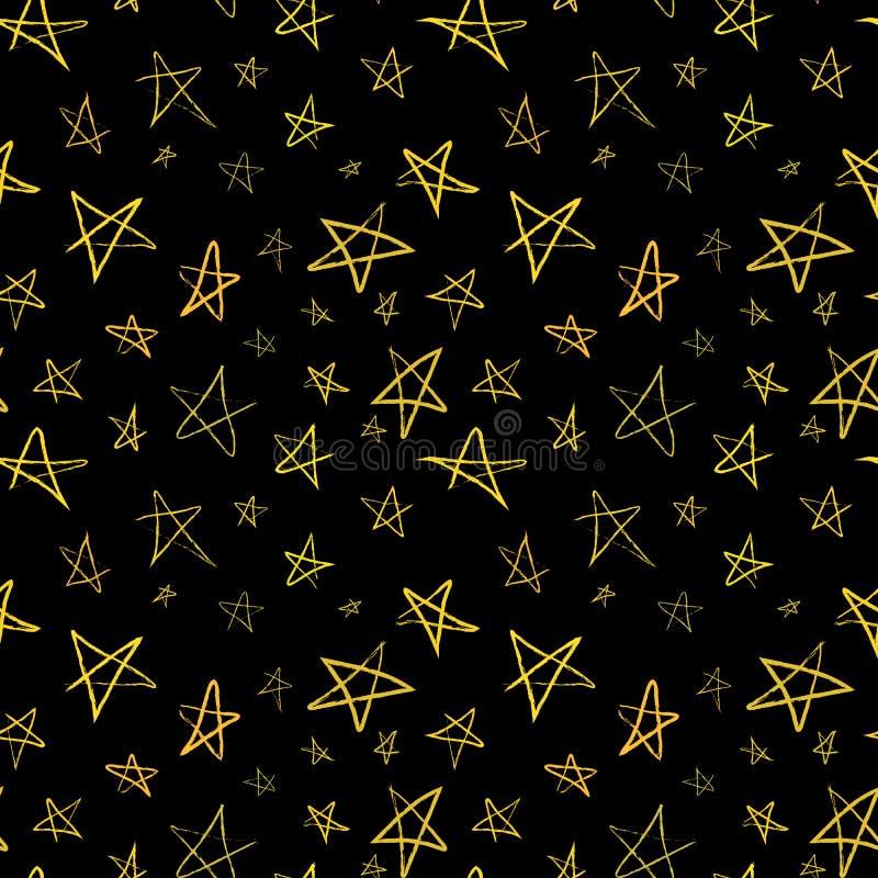 Gouden hand-drawn sterren op nachthemel, naadloos patroon stock illustratie