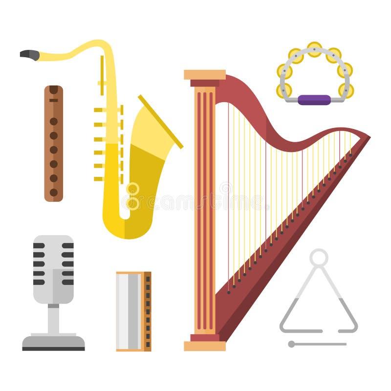 Gouden harp het pictogram stringed muzikale de kunst correcte hulpmiddel en saxofoon van het instrumenten klassieke orkest de ako stock illustratie