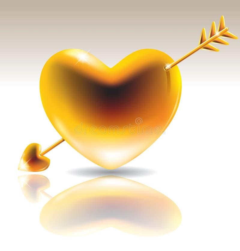 Gouden hart met pijl stock illustratie