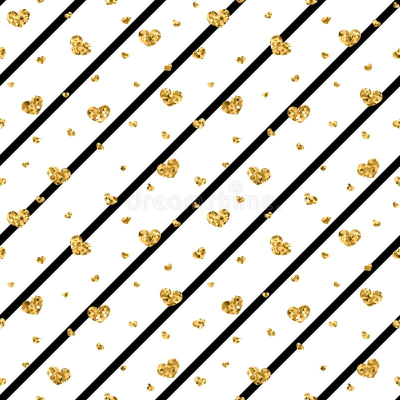 Gouden hart naadloos patroon Zwart-witte geometrische strepen, gouden confetti-harten Symbool van liefde, Valentine-dag stock illustratie