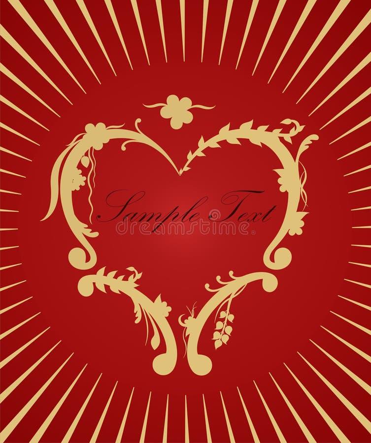 Gouden hart op rode achtergrond. Het concept van de liefde royalty-vrije illustratie
