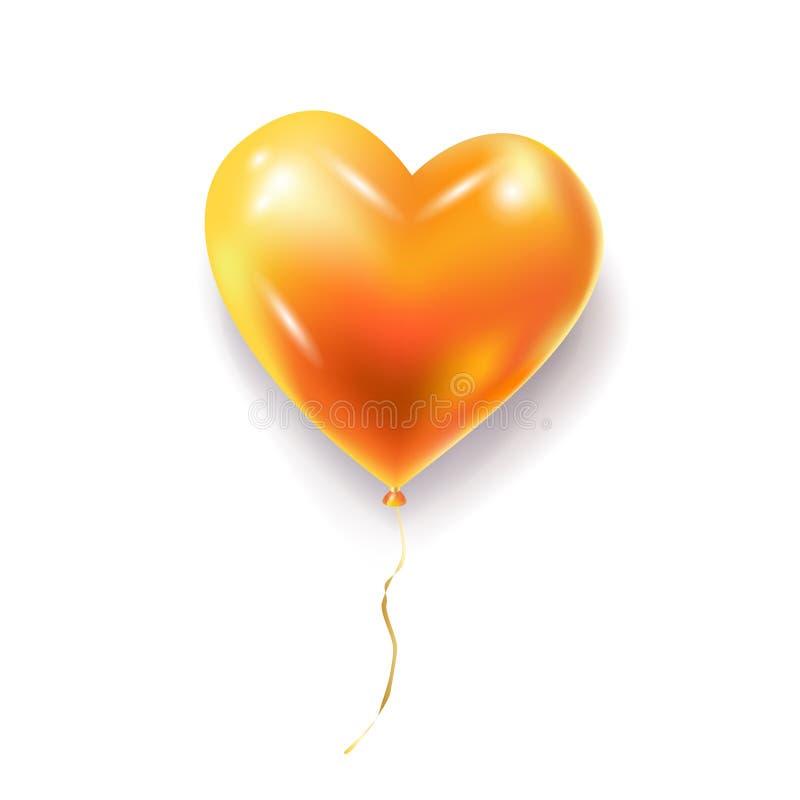Gouden hartballon stock illustratie