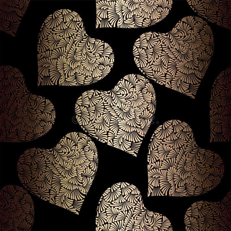 Gouden harten naadloos vectorpatroon De glanzende gouden en zwarte achtergrond van de Valentijnskaartendag Krabbelornament Textuu vector illustratie
