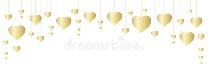 Gouden hartenkader, grens Groot voor decoratie van Valentine en de kaarten van de Moedersdag, huwelijksuitnodigingen, partijaffic royalty-vrije illustratie