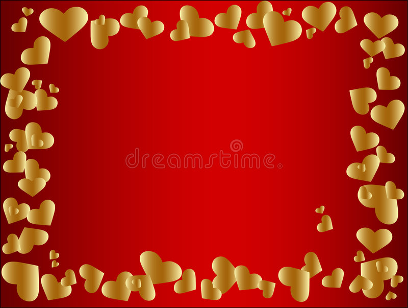 Gouden hartframe royalty-vrije illustratie