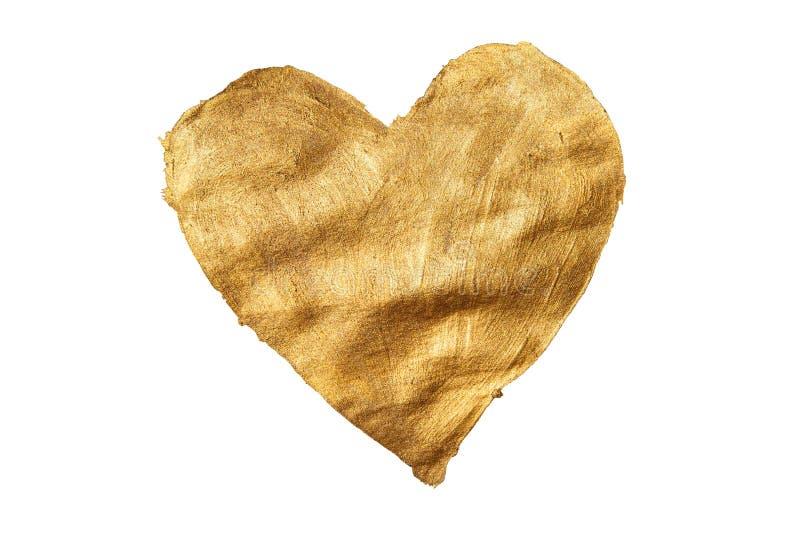 Gouden hartvorm, het mooie waterverf schilderen royalty-vrije stock afbeelding