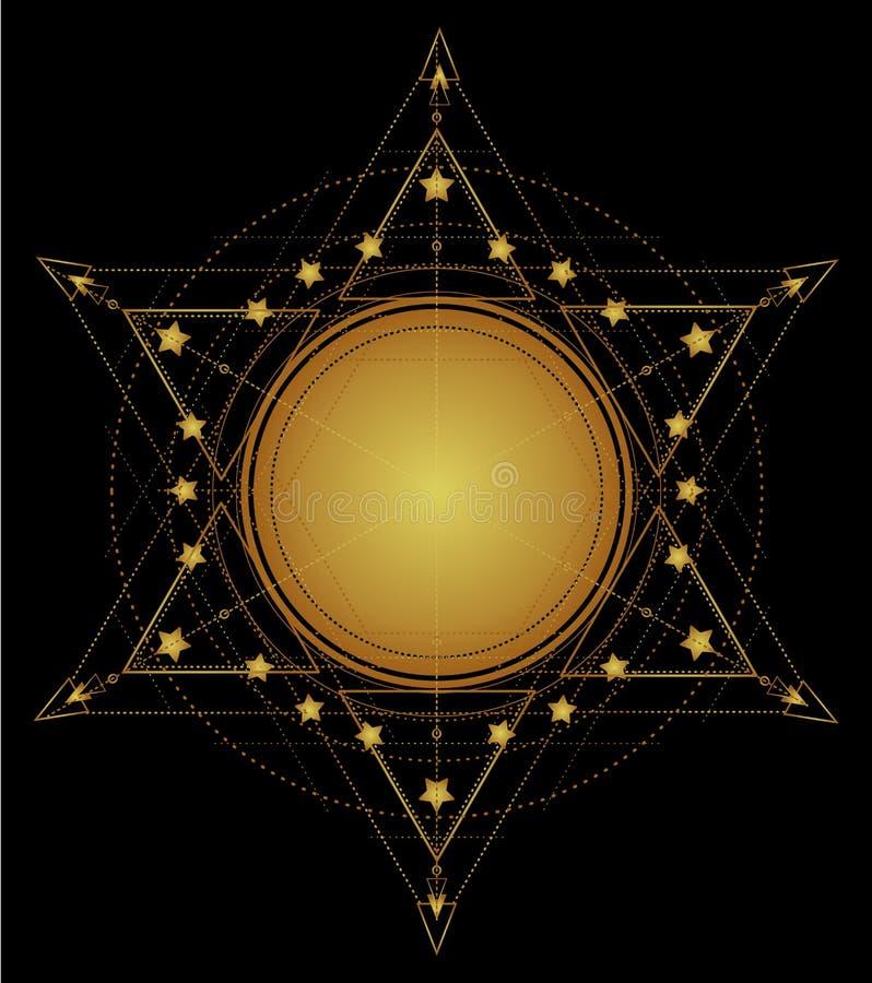Gouden heilige meetkundevorm Gradiënt logotype malplaatje Isolat vector illustratie