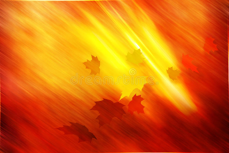 Gouden herfst gele bladerenachtergrond stock illustratie