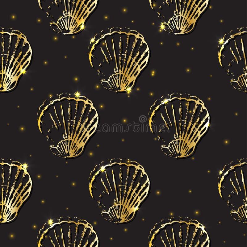 Gouden het decor naadloos patroon van de schetszeeschelp vector illustratie
