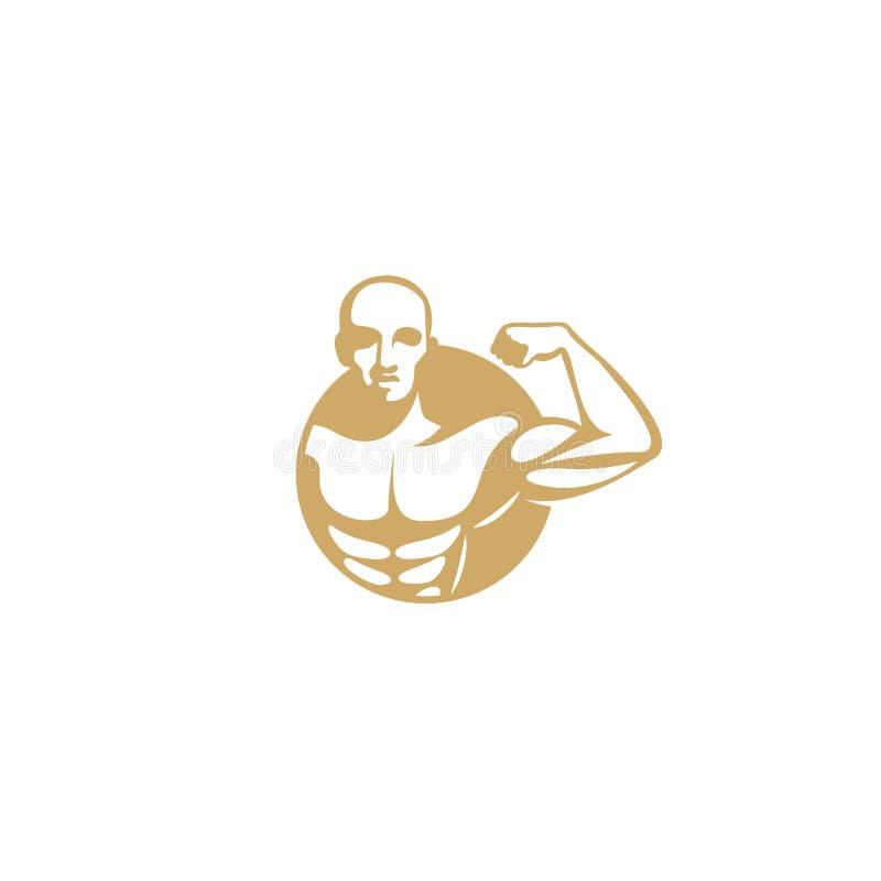 Gouden het embleem vectorillustratie van de spiermens stock illustratie