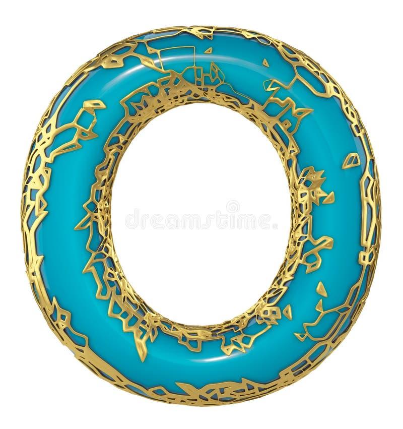 Gouden het glanzen metaal 3D met de blauwe hoofdletter O van het verfsymbool - in hoofdletters geïsoleerd op wit 3d royalty-vrije illustratie