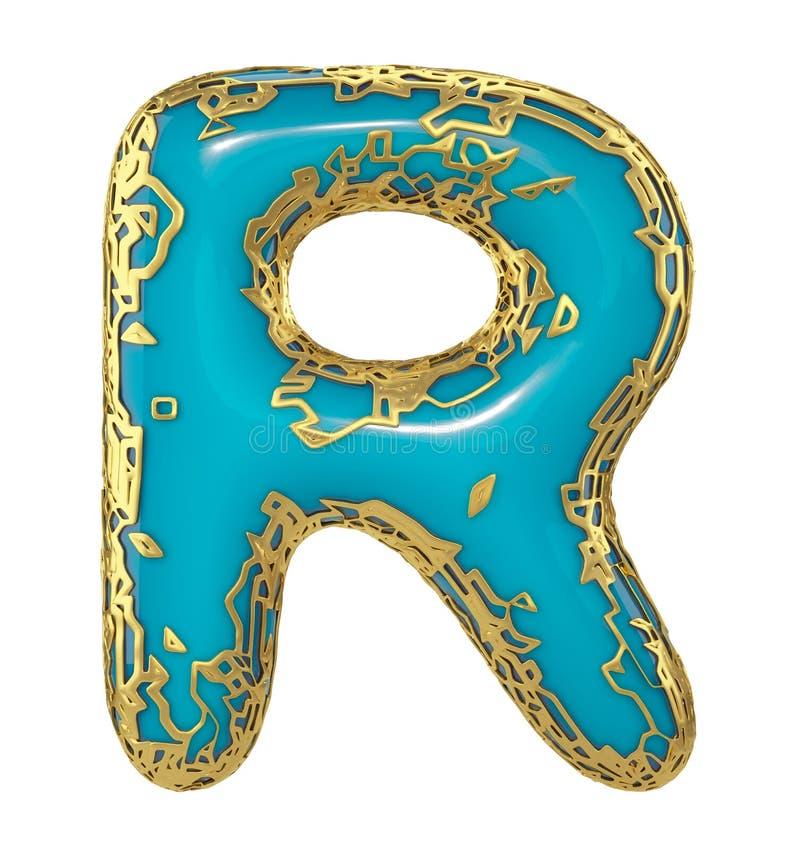 Gouden het glanzen metaal 3D met de blauwe hoofdletter R van het verfsymbool - in hoofdletters geïsoleerd op wit 3d stock illustratie