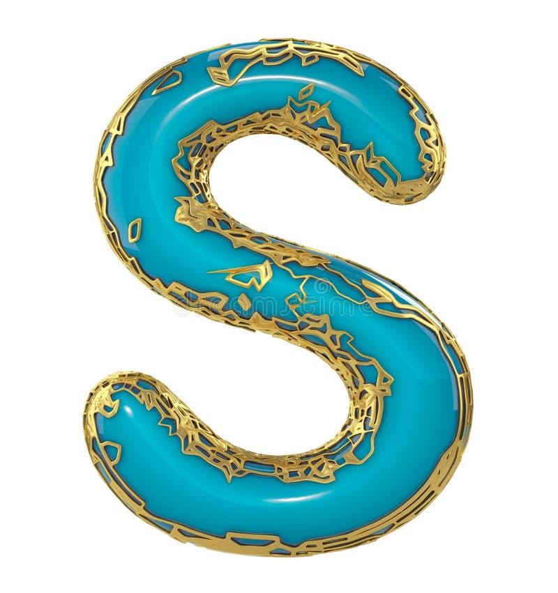 Gouden het glanzen metaal 3D met de blauwe hoofdletter S van het verfsymbool - in hoofdletters geïsoleerd op wit 3d vector illustratie