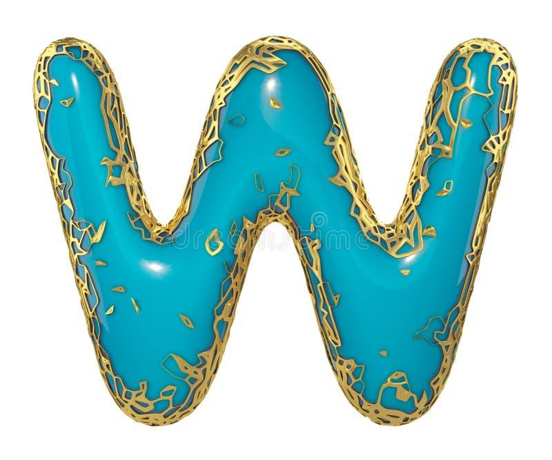 Gouden het glanzen metaal 3D met de blauwe hoofdletter W van het verfsymbool - in hoofdletters geïsoleerd op wit 3d vector illustratie