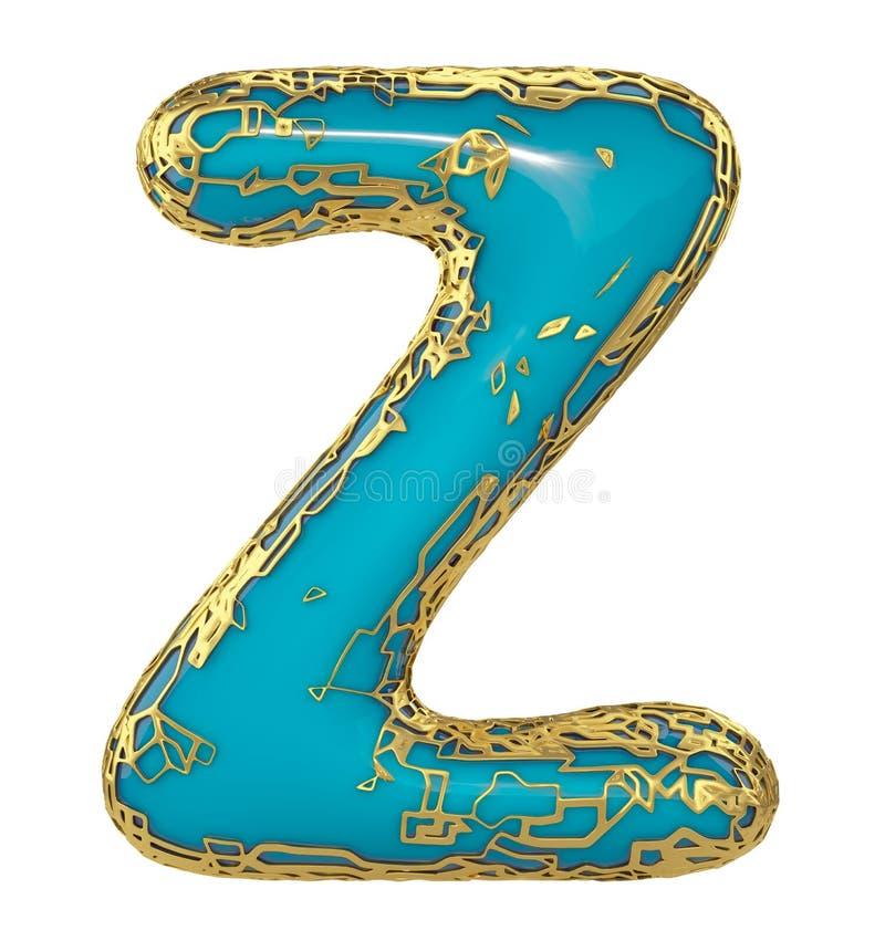 Gouden het glanzen metaal 3D met de blauwe hoofdletter Z van het verfsymbool - in hoofdletters geïsoleerd op wit 3d stock illustratie