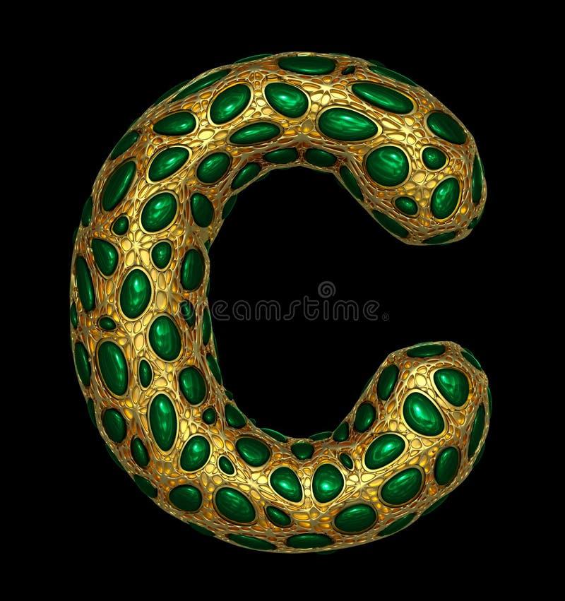 Gouden het glanzen metaal 3D met de groene hoofdletter C van het glassymbool - in hoofdletters geïsoleerd op zwarte royalty-vrije illustratie