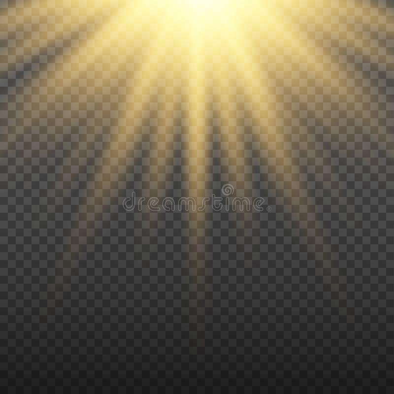 Gouden het gloeien lichte uitbarstingsexplosie op transparante achtergrond Heldere gloedeffect decoratie met straalfonkelingen royalty-vrije illustratie